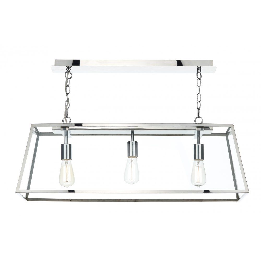 Stainless Steel Kitchen Pendant Light Dar Aca0344 Academy 3 Light Ceiling Pendant Stainless Steel