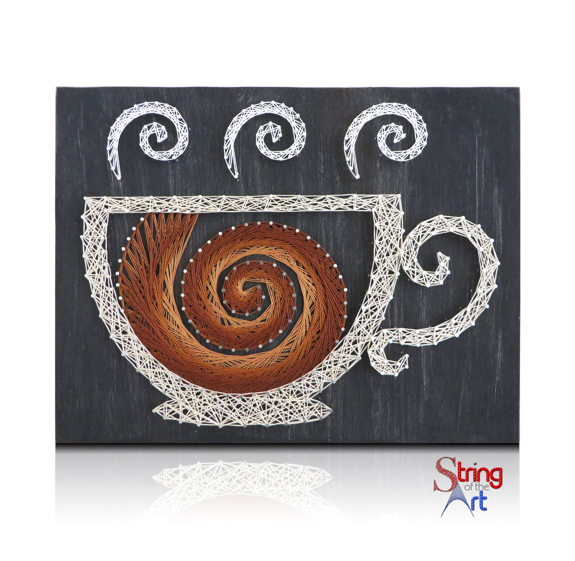 DIY String Art Kit - Swirling Coffee Cup String Art, Coffee String ...