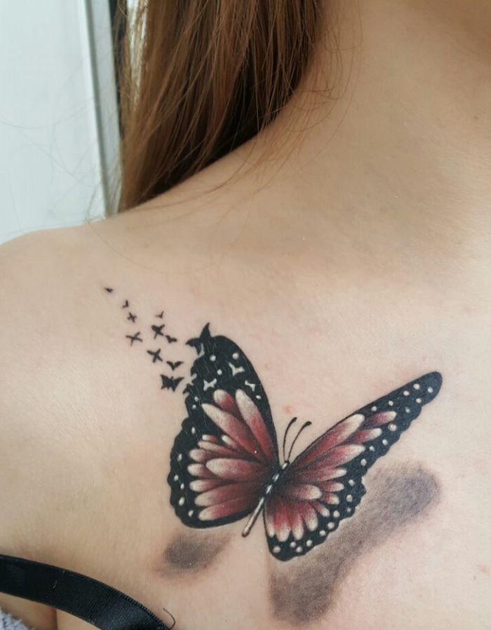 1001 Designs De Tatouage Papillon Pharamineux Tatouage Papillon Tatouage Plume Tatouage