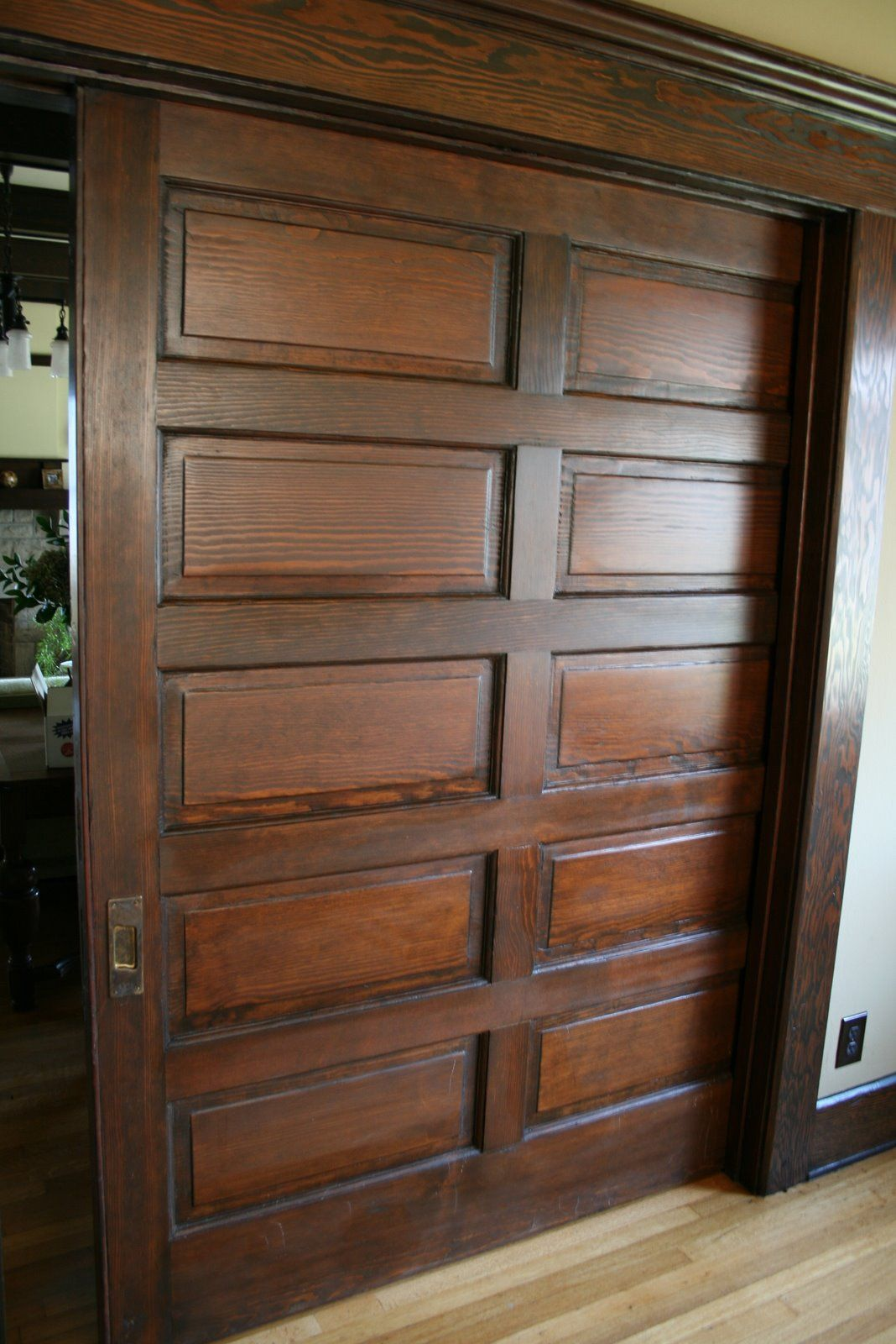 Pocket Door – 1908 Craftsman Bungalow, 2361 W. 20th St. – photo: - Pocket Door – 1908 Craftsman Bungalow, 2361 W. 20th St. – Photo