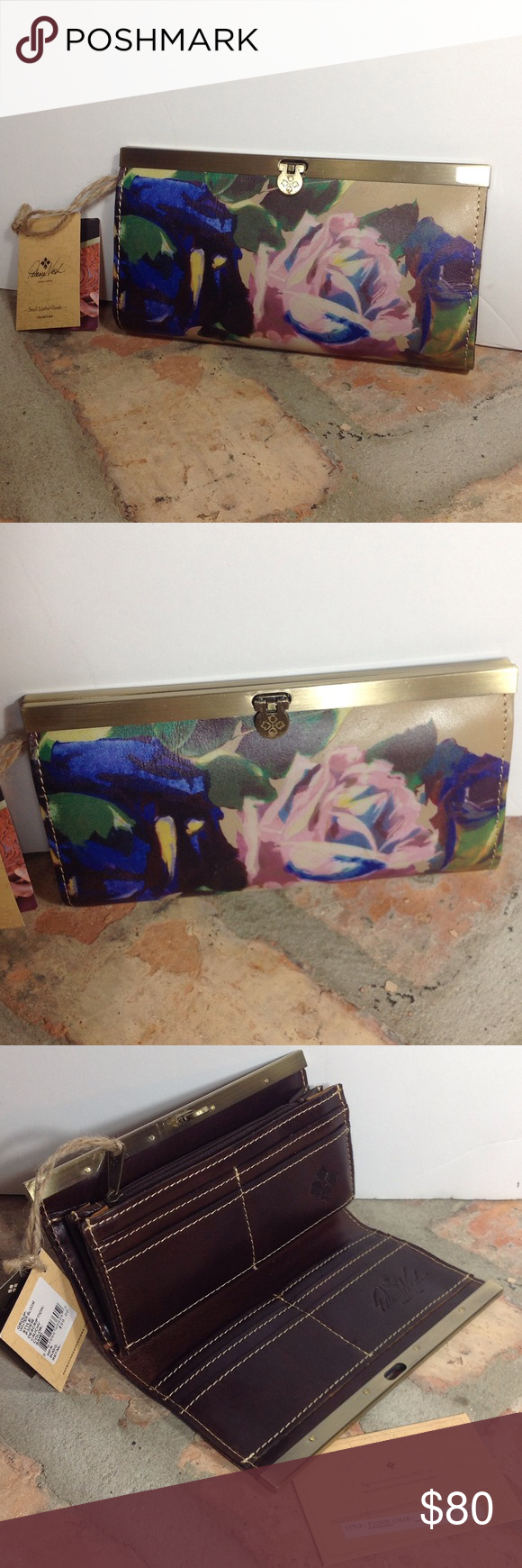 New! Patricia Nash Winter Bloom Cauchy Wallet NWT Patricia Nash wallet has 10 compartments for cards. Zip closure coin pocket. 5 inside slots. Very spacious and classy wallet.Color referred to as Sand..dark brown interior. Turn lock closure. Patricia Nash Bags Wallets
