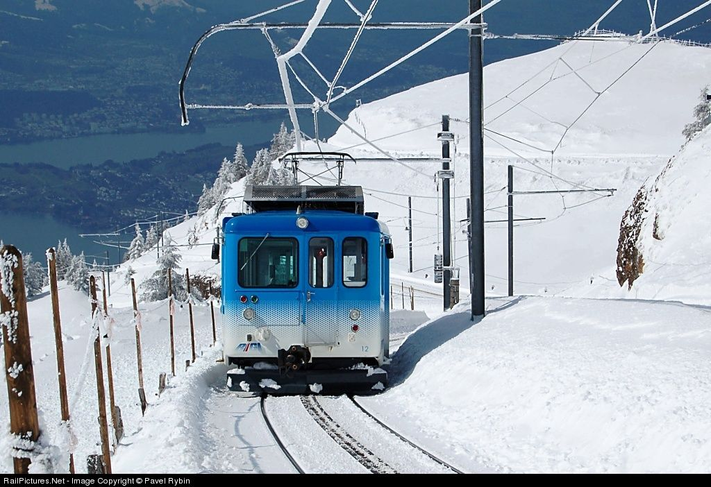 Train departure from ended station Rigi Kulm (1800 meters - 6000 feet) to Goldau.