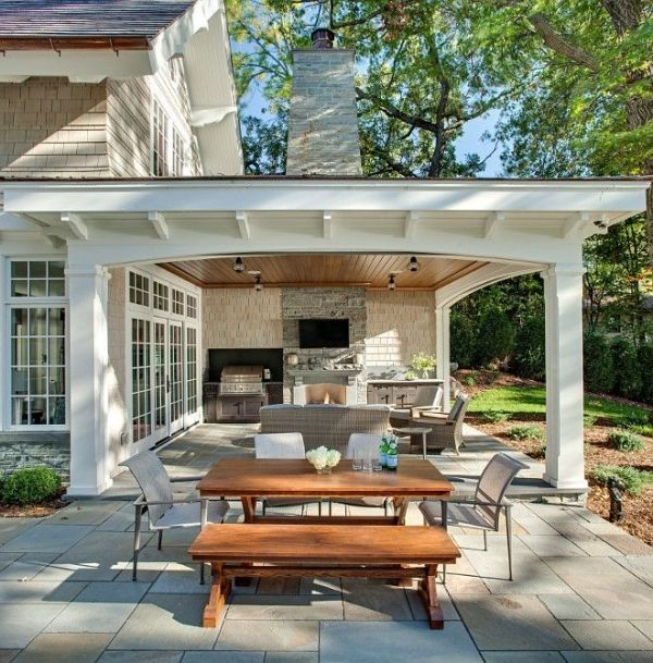 Covered porch with fireplace - backyard by LizaVorster