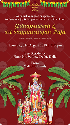 GS02 GrihaPravesh & Satyanarayan Puja Invitation Card in