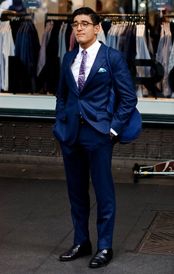Cobalt blue suit with purple tie and blue pocket square | Stylin ...
