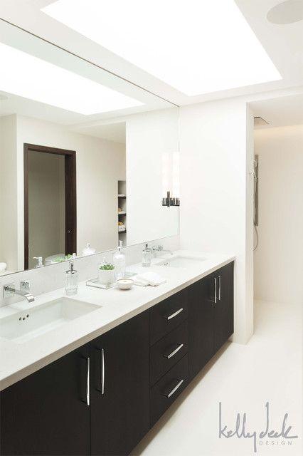 Clean Contemporary Bathroom Design Skylight Espresso