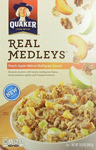 Quaker Real Medleys Cereal Peach Apple 155 Ounce * To view further for this item, visit the image link.