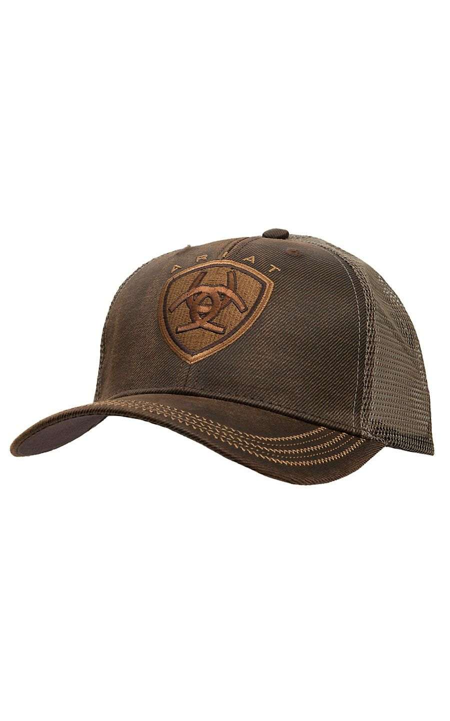 Ariat Brown Oilskin with Mesh Back Logo Velcro Back Cap Gorras 9b455fbc9d7