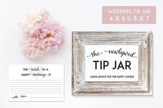image about Printable Tip Jar Signs identified as Wedding ceremony Suggestion Jar 5 x 7 and 4 x6 Printables - Electronic Record