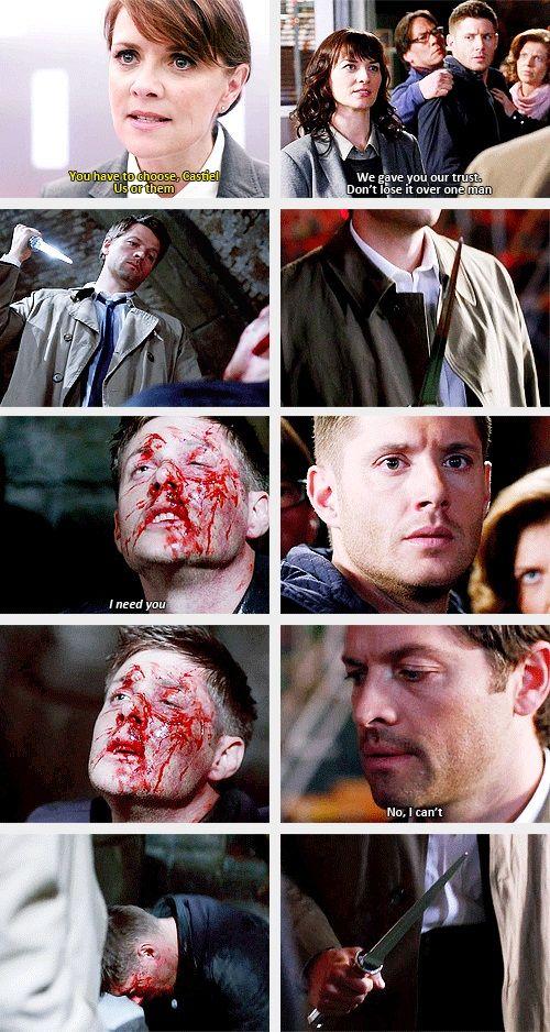 9x22 Stairway To Heaven & 8x17 Goodbye Stranger [gifset] - Castiel chooses Dean over Heaven - Supernatural