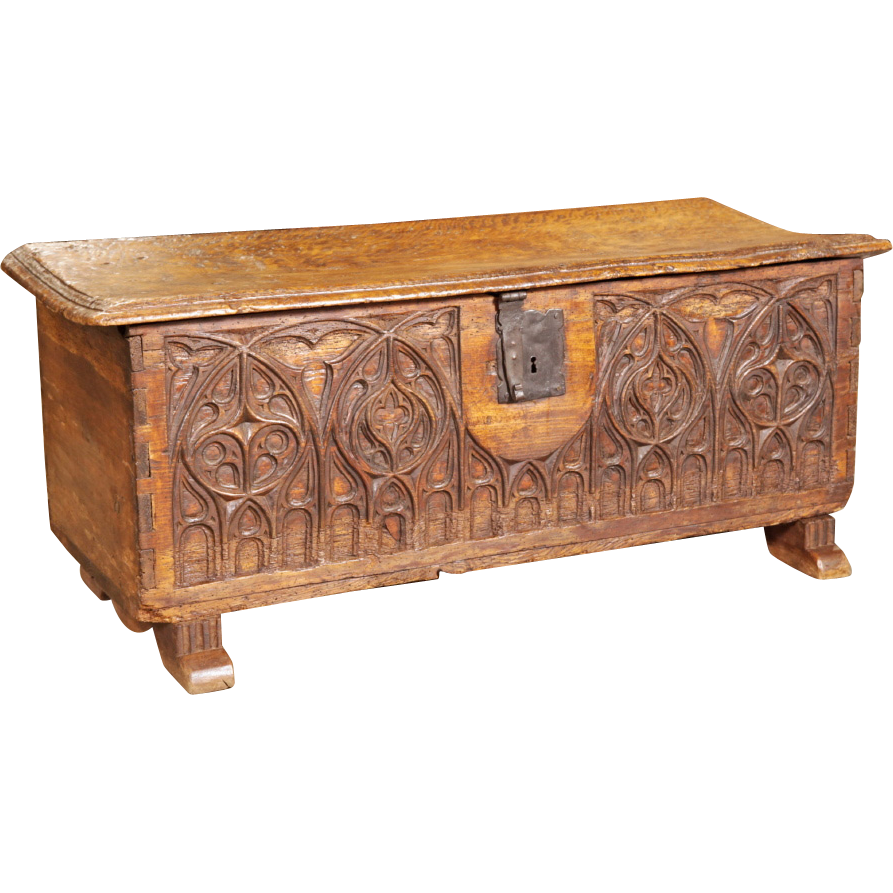 Early 18th Century Gothic Trunk Walnut Wood Interesting Furniture No Big Box Store Junk Here