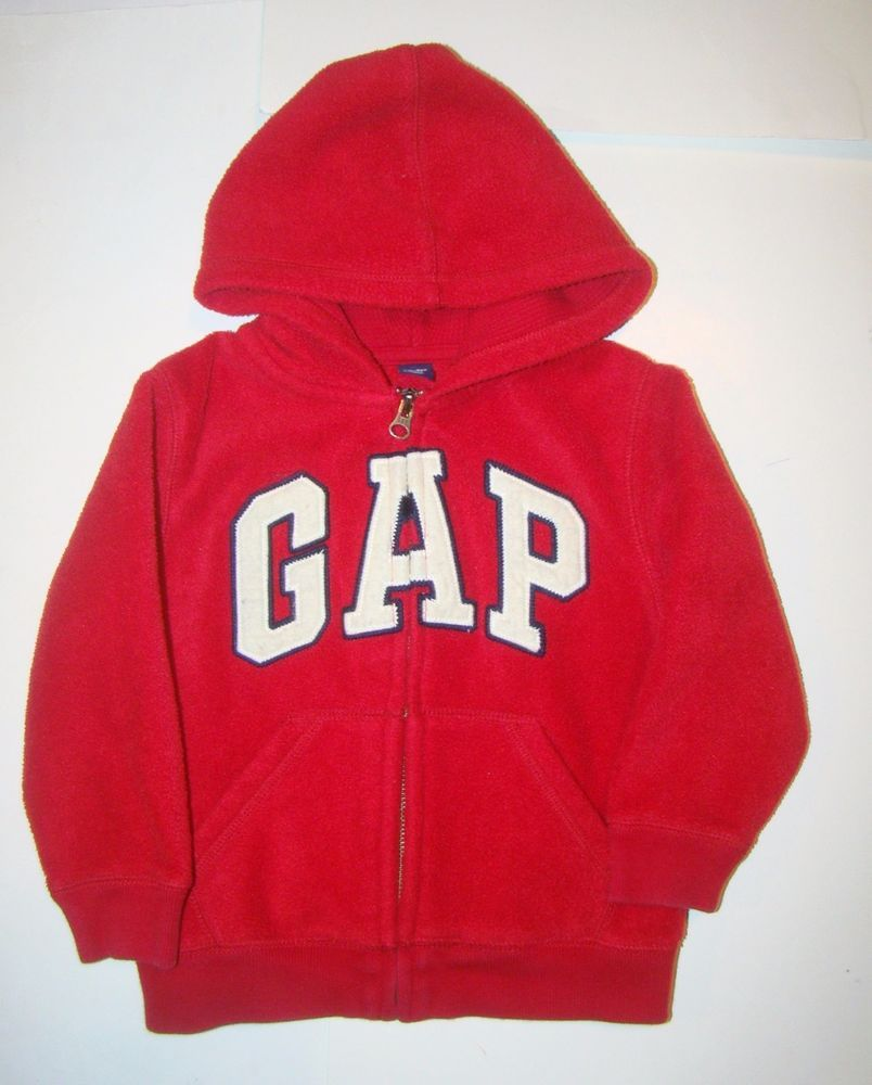 20a91f8cd Baby Gap Red White Navy Blue Logo Hooded Hoodie Fleece Fall Zip ...