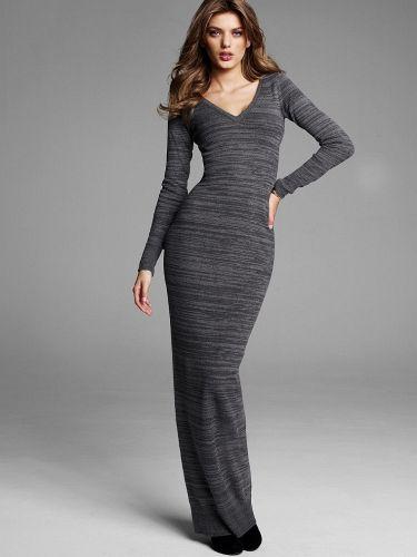V Yaka Gri Uzun Triko Elbise Modeli Elbise Modelleri The Dress Elbise
