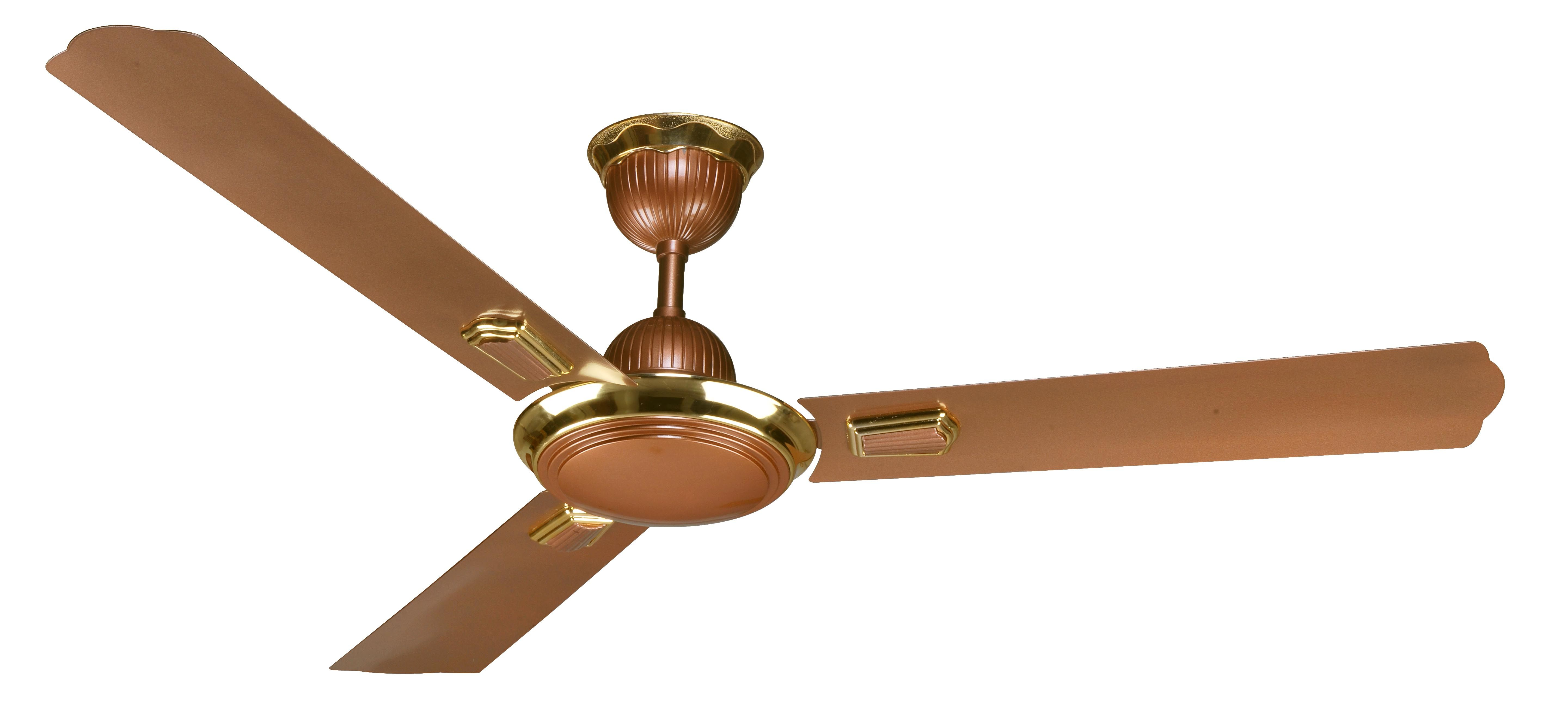 Classic Design With Appealing Brown Color Ceiling Fan With Gold