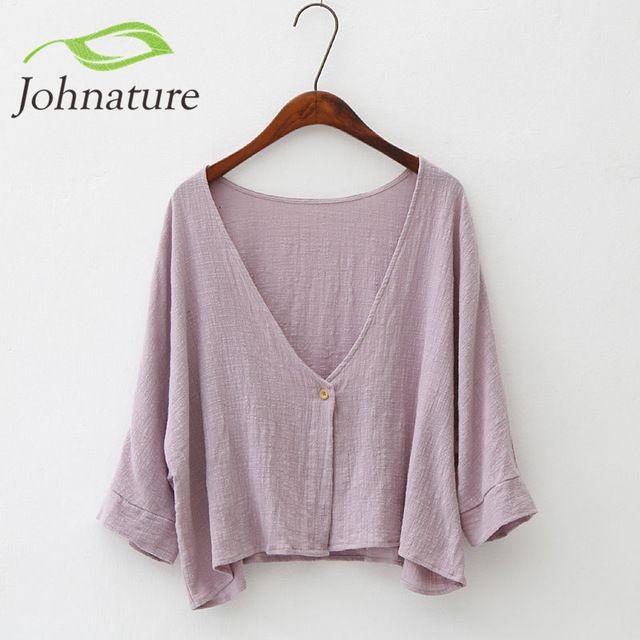 Johnature 2018 New Autumn Womens One Button Jacket Cotton Linen Soft Bat Sleeve Cardigan Simple Short Style Loose Cloak Jacket