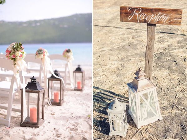 Beach Wedding Aisle And Reception Decoration Ideas With Lanterns Elegantweddinginvites