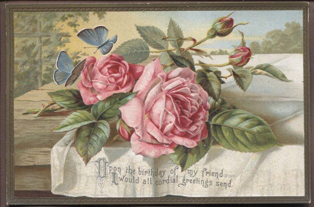c5258 vgc victorian embossed birthday card rose