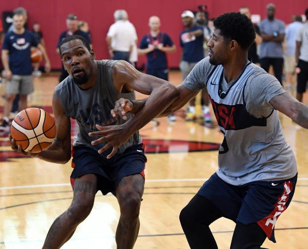 2ab7b3cfae27 Kevin Durant of the United States drives against Paul George of the United  States during a practice session at the 2018 USA Basketball Men s National.