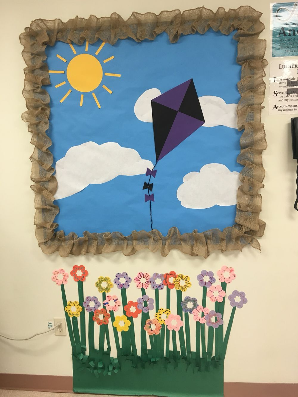 Spring or summer end of the year bulletin board with kite for Garden design ideas cork