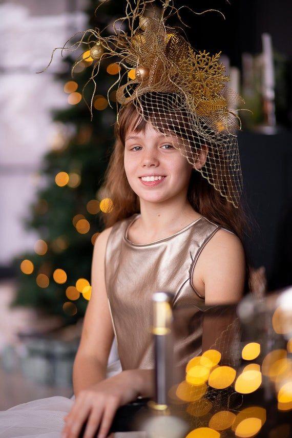 Gold Christmas Fascinator Veil Hat Women, Gold Fascinator Hat, Headpiece Winter Bride Wedding Ladies Day Race, Christmas Tree Headband Adult #fascinatorstyles