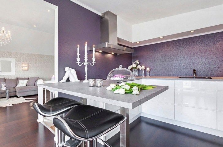 Kitchen Luxurious Clic Themed Wallpaper Backsplash Modern Material Stylish Luxurous Interior