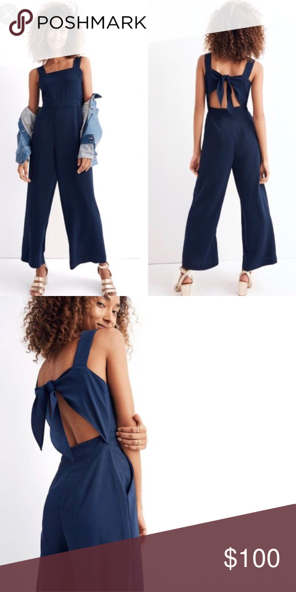 Madewell Apron Bow Back Jumpsuit In Navy In 2018 My Posh Picks