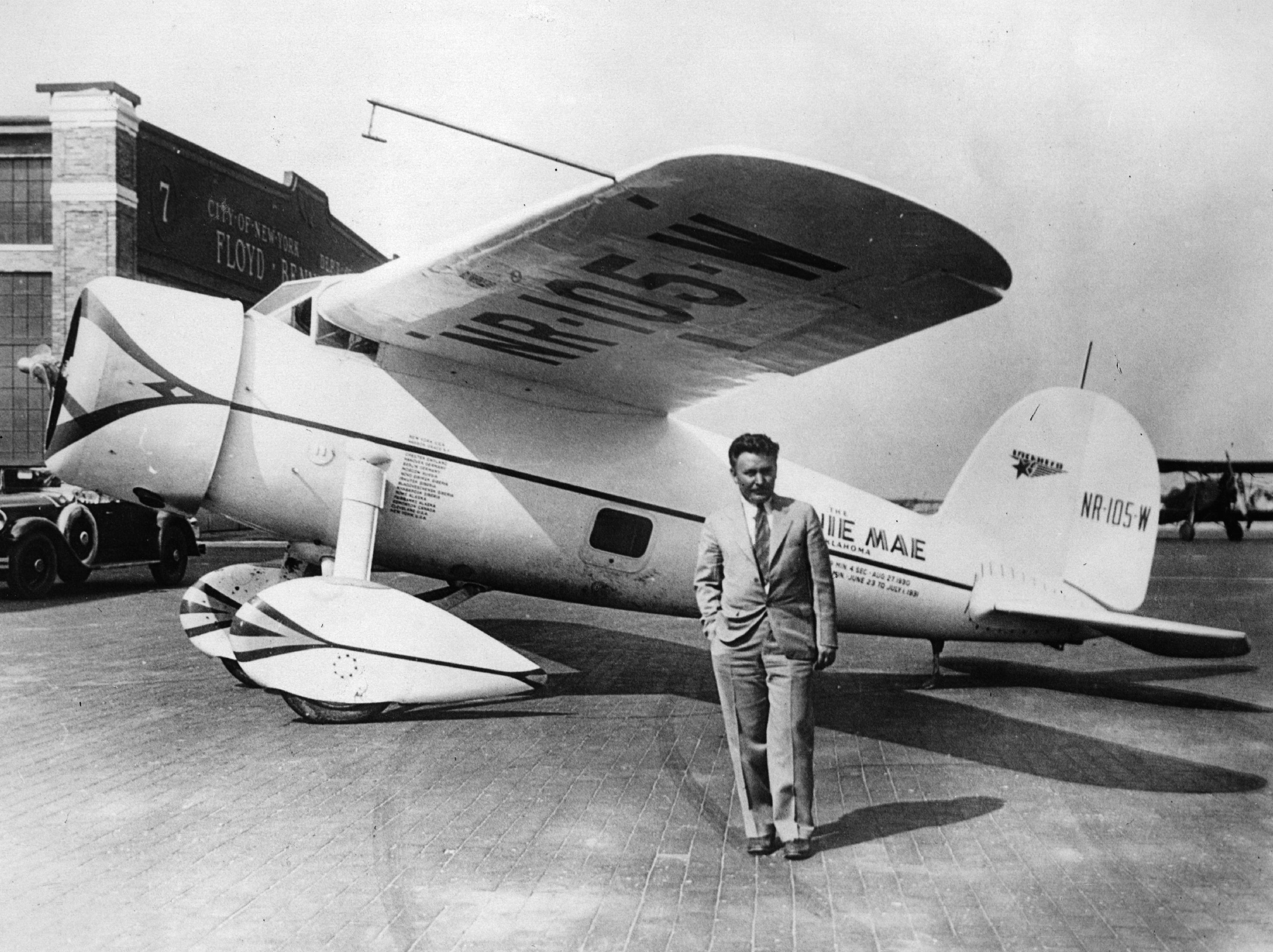 Image result for wiley post completes his solo flight around the world