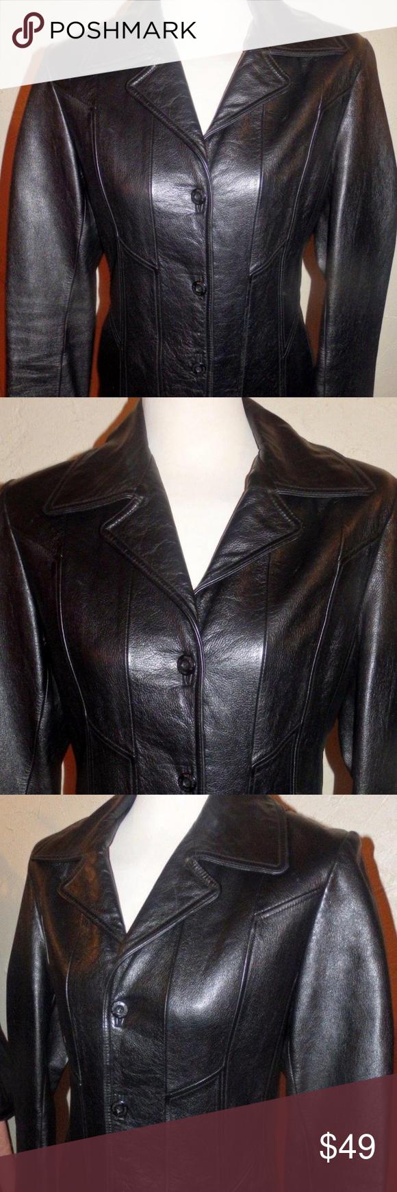 Wilsons Maxima Black Heavy Leather Jacket Sz M Leather