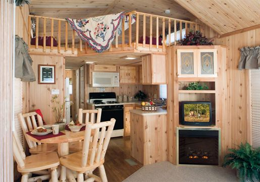 Cabin Park Models by Forest River-Nice kitchen, fireplace