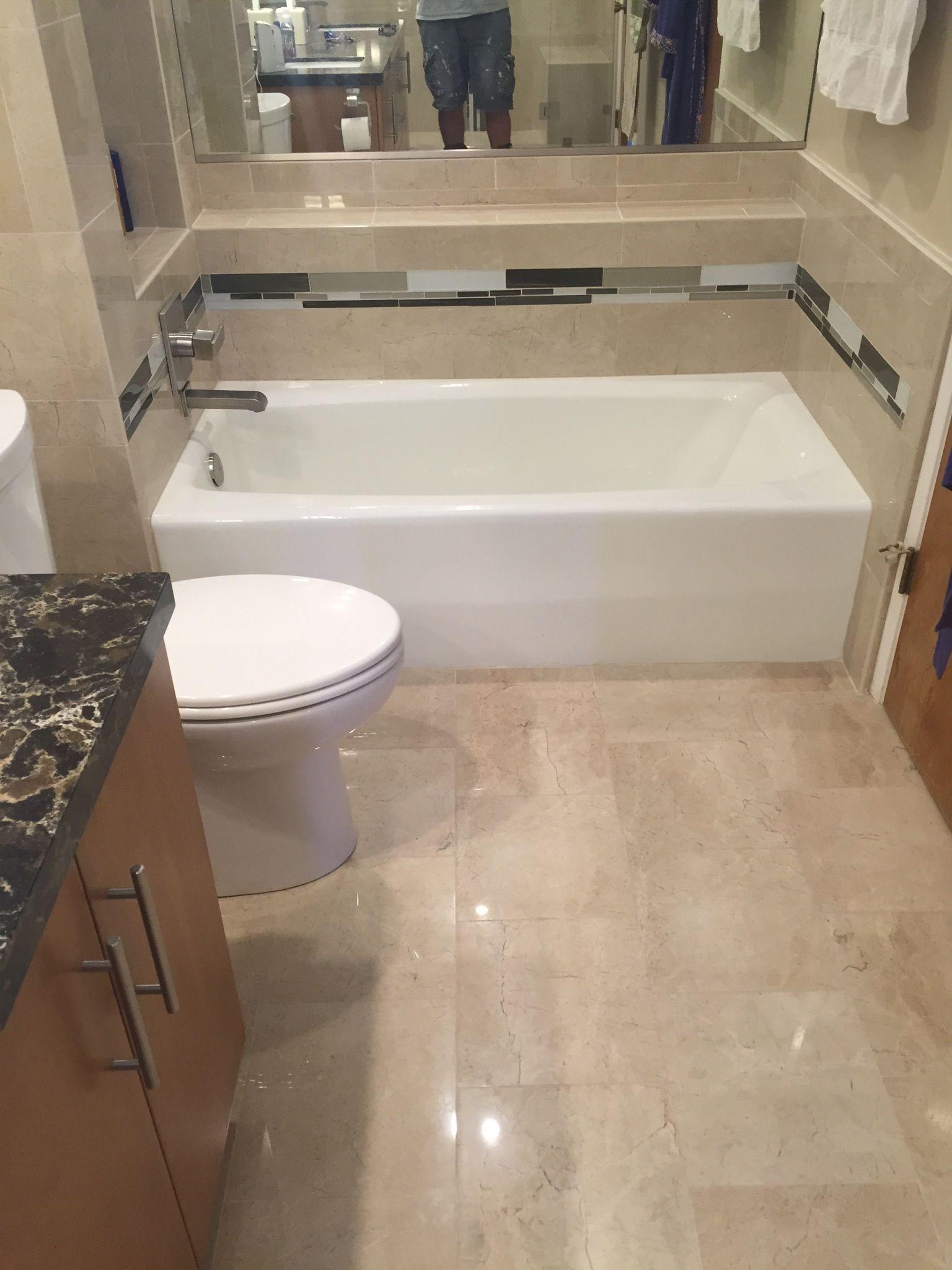 Crema Marfil Porcelain Tile Downstairs Bathroom Bathrooms Remodel Bathroom