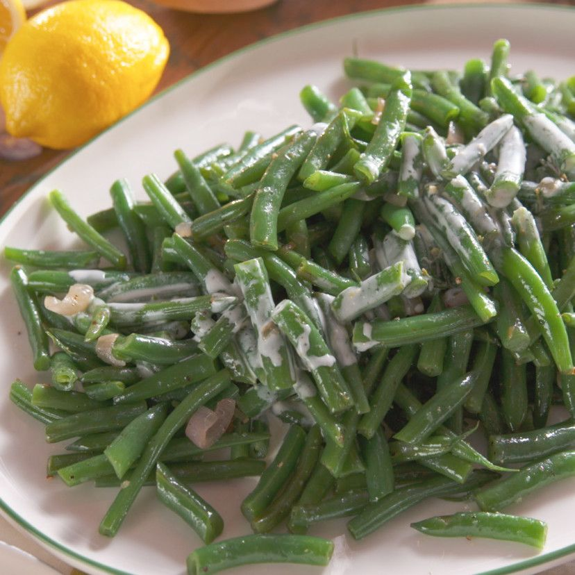 Sauteed Green Beans with Creamy Lemon Dressing Recipe in