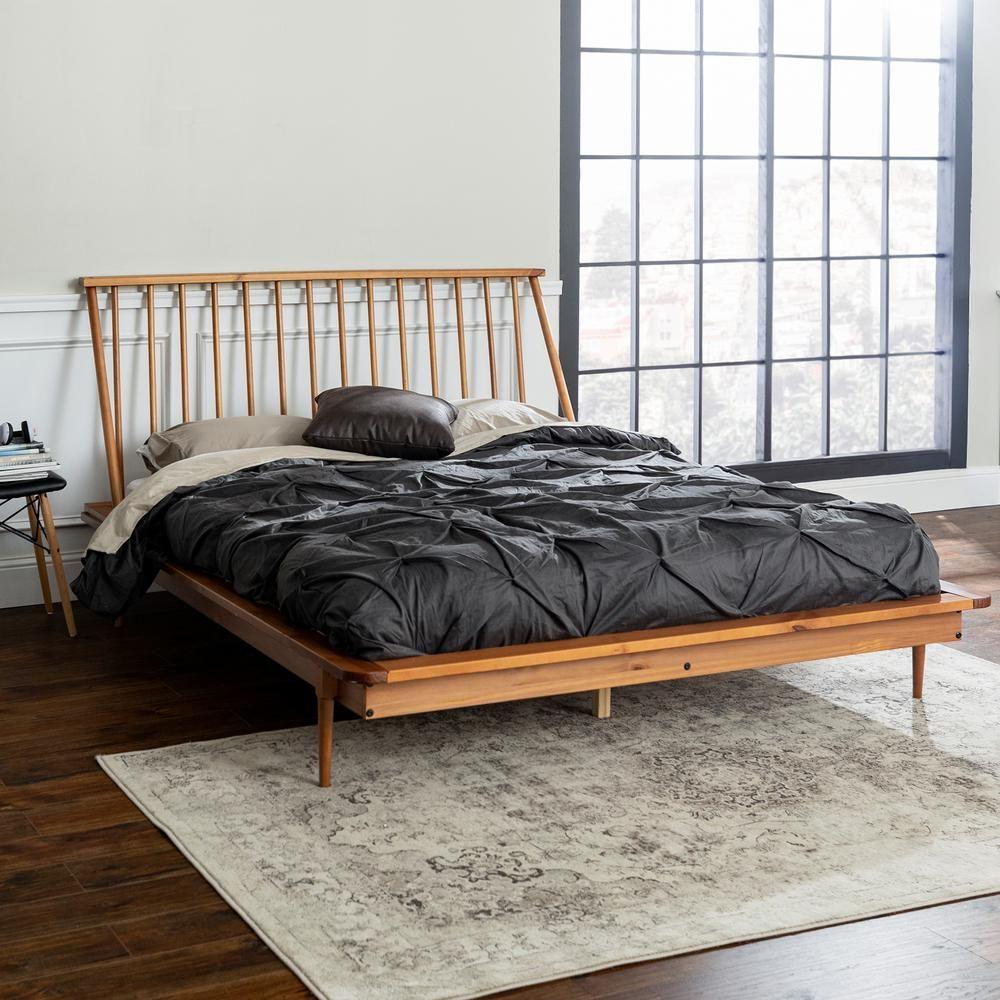 Walker Edison Furniture Company Solid Wood Modern Caramel Queen Spindle Bed Spindle Bed Bed Furniture