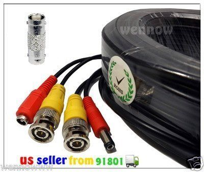 120ft Black Audio Video /& Power RCA Cable for Night Owl Security CCTV Camera