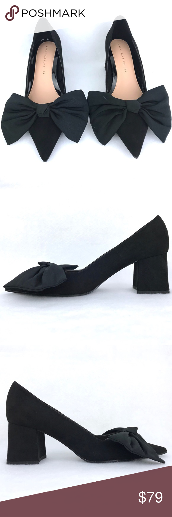 Bow Court Shoes Faux Suede Pointed Toe