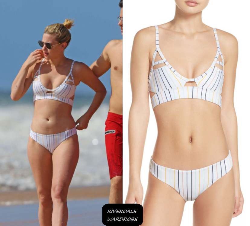 "72245600855a ""Hawaii: Lili's White Striped Bikini "" Who: Lili Reinhart What: Tavik Jessi"