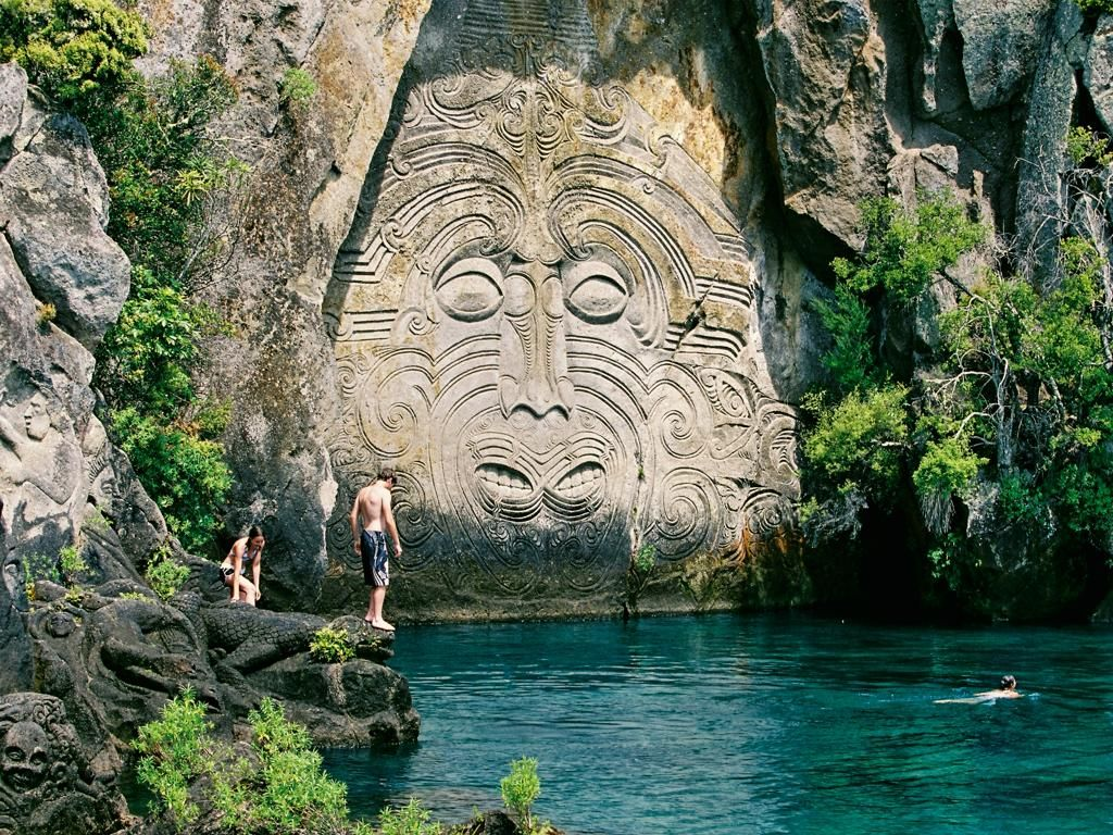 Mine bay rock carving on lake taupo travel new