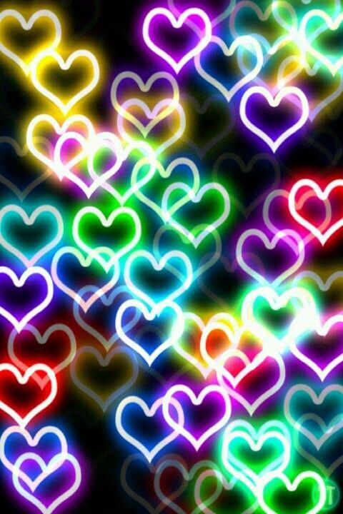 Neon Hearts Wallpaper