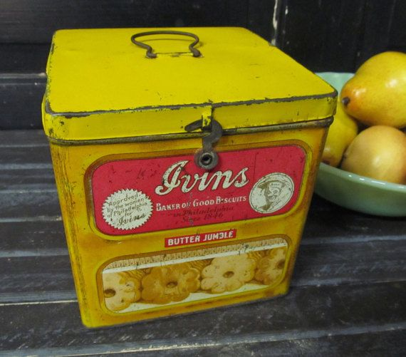 Antique Ivins Butter Cookie Tin Philadelphia Pa Biscuit Tin Butter Cookies Tin Cookie Tins Butter Cookies