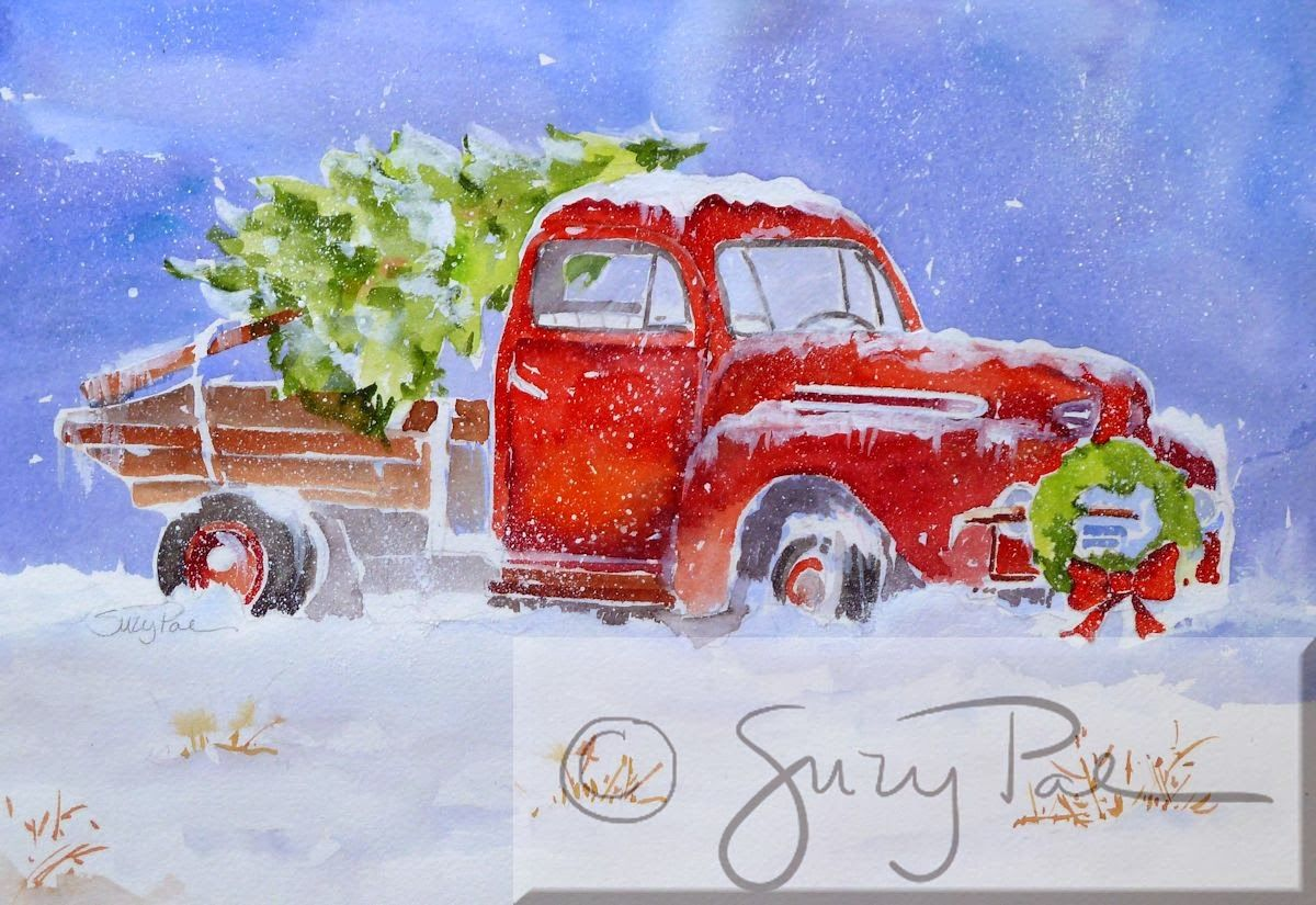 Old Truck With Christmas Tree Painting.Christmas Tree With Old Truck Watercolors Think Wallpaper