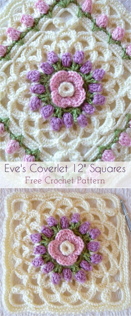 Eve\'s Coverlet 12″ Squares Crochet Afghan – Free Pattern #crochet ...