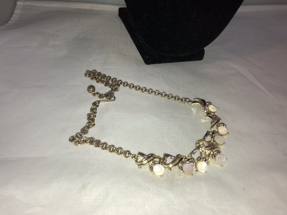 Vintage Mother of Pearl and Rhinestone Gold Choker Necklace