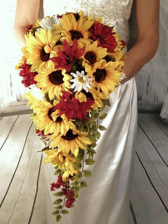 Cascading Artificial Sunflower Wedding Bouquet With