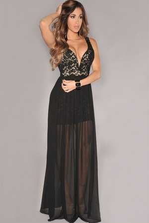 aec5e983b Vestido escote V largo transparencias - Corsets online lenceria vestidos
