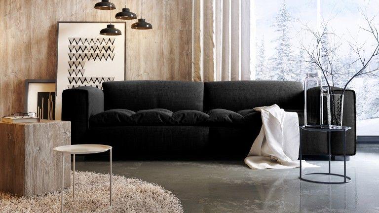 Canapé Design 3 Places Storra Avec Assise Tissu Matelassée