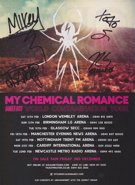 My Chemical Romance Tour >> My Chemical Romance Danger Days Tour Signed Autographed Photo Print