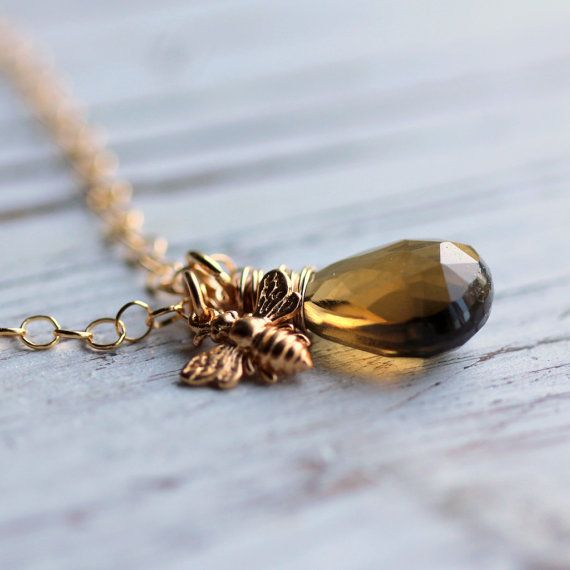 Necklace Gold Wire Wrapped Brown Gemstone with Whiskey Quartz, Gold ...