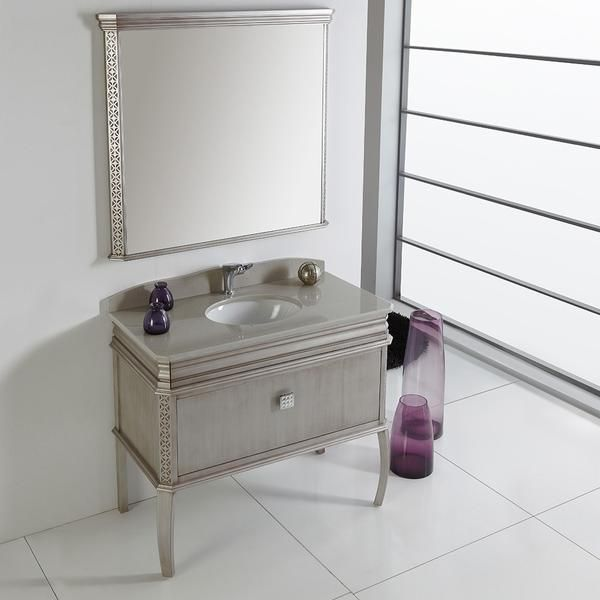 Image Gallery Website Fresca Platinum London Antique Silver Bathroom Vanity w Swarovski Handles u Mirror