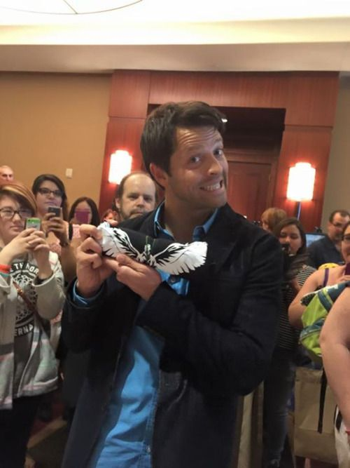 "Misha Collins PhxCon 2015  ""our #castiel shirt is Misha Collins approved! #phxcon""  via http://lafleurfersure.tumblr.com"
