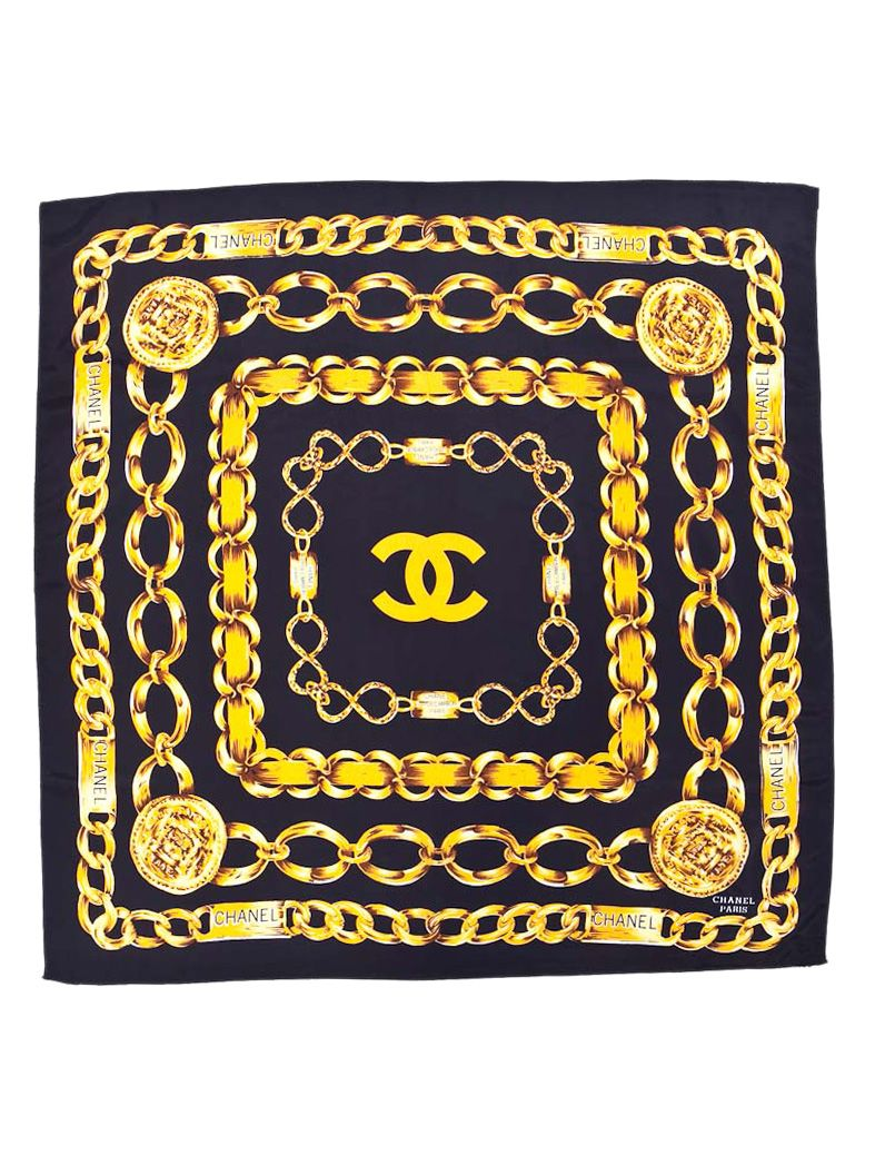 8c751207bc5df8 Chanel black & gold Chain silk scarf. | *Le` CHANEL BOUTIQUE* in ...