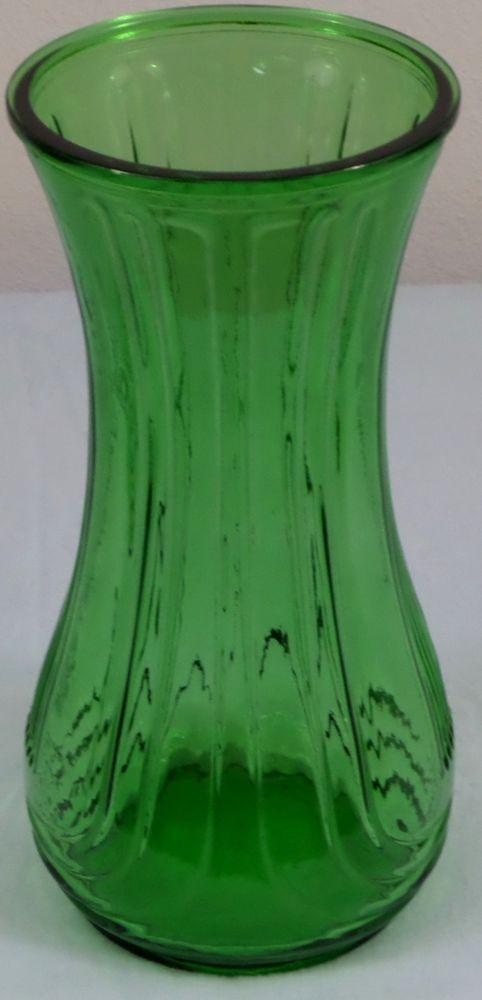 Vintage Hoosier Glass Green Glass Vase Ribbed Hour Glass Design 4087